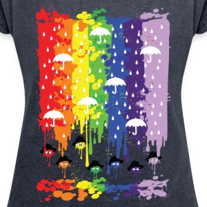 rainbow rainy day Women's T-shirt with rolled up - Women's T-shirt with rolled up sleeves