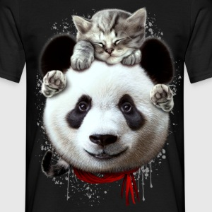 CAT ON PANDA - Men's T-Shirt