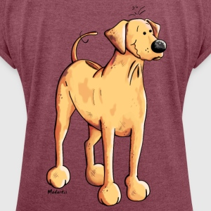 Happy Rhodesian Ridgeback T-Shirts - Women's T-shirt with rolled up sleeves