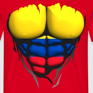 Colombia flag torso muscled body abdominal T-Shirts - Men's T-Shirt