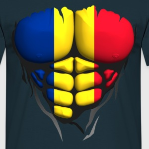 Romania flag torso body muscled abdos T-Shirts - Men's T-Shirt