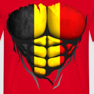 Belgium flag torso muscled body abdominal T-Shirts - Men's T-Shirt