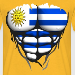 uruguay flag torso body muscle abdos T-Shirts - Men's T-Shirt