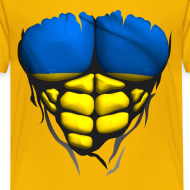 Motif ~ Torse musclé drapeau pays Ukraine