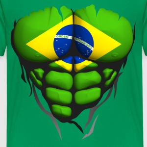 Brazil flag torso body muscle abdos Shirts - Teenage Premium T-Shirt