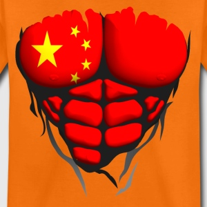 china flag torso muscled body abdominal Shirts - Teenage Premium T-Shirt