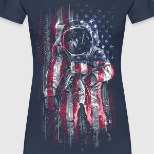 Astronaut with American Flag T-Shirt - Women's Premium T-Shirt
