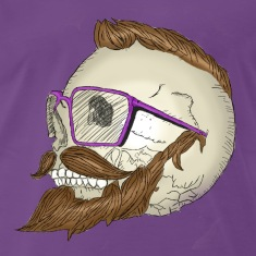Purple Hipster Skull Moustache T-Shirts