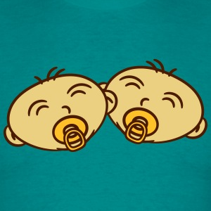2 twins siblings faces pacifier T-Shirts - Men's T-Shirt