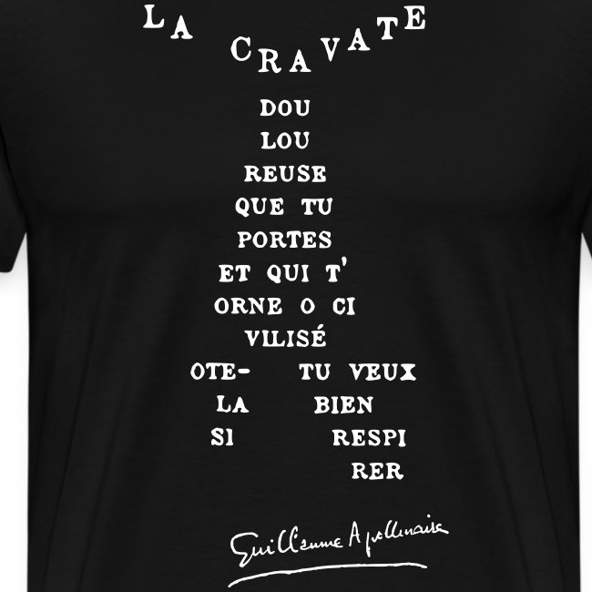 T-shirt Homme - Calligramme La cravate (blanc)