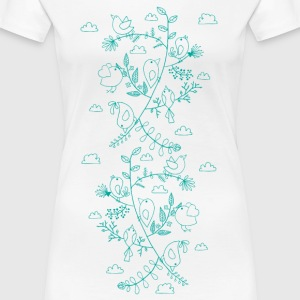 White birds and leaves T-Shirts - Women's Premium T-Shirt