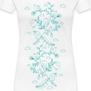 Blanc Birds and leaves (vertical) Tee shirts - T-shirt Premium Femme