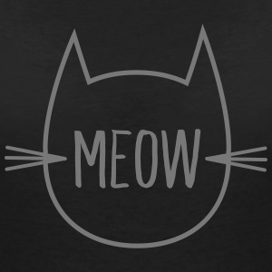 Meow (Cat Outline) T-Shirts - Women's V-Neck T-Shirt