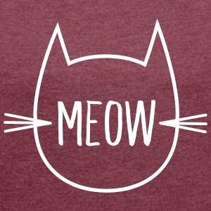 Meow (Cat Outline) T-Shirts - Women's T-shirt with rolled up sleeves