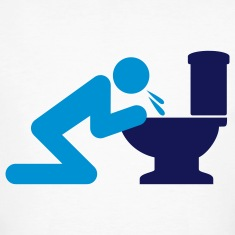 Man puking in the toilet T-Shirts