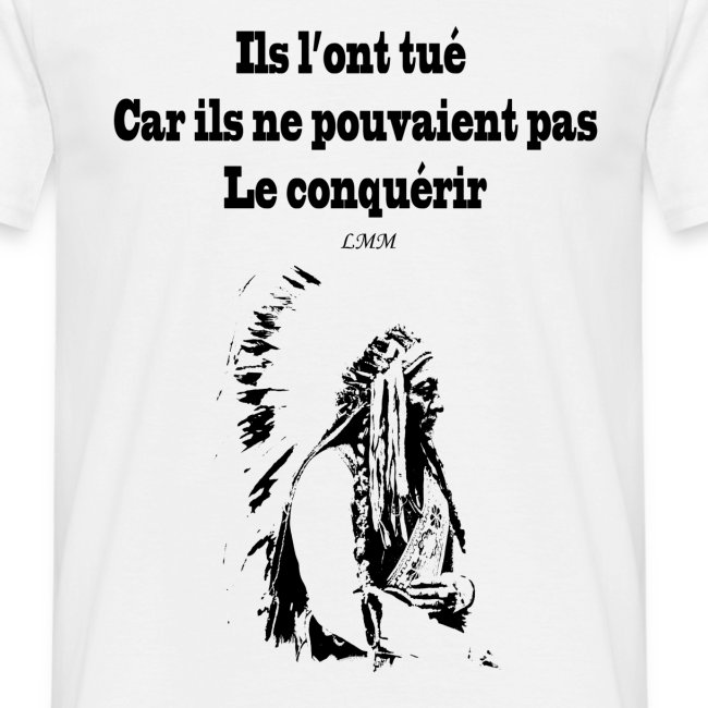 "T-shirt homme blanc ""Crazy Horse"" maxi motif"