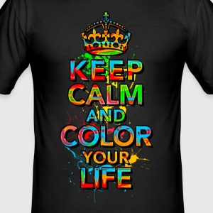 KEEP CALM, music, cool, text, sports, love, retro T-Shirts - Men's Slim Fit T-Shirt