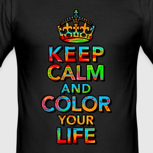 KEEP CALM, music, cool, text, sports, love, retro  - Männer Slim Fit T-Shirt