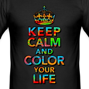 KEEP CALM, music, cool, text, sports, love, retro T-shirts - Herre Slim Fit T-Shirt