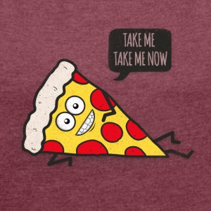 Funny Cartoon Pizza - Statement / Funny / Quote T-shirts - Vrouwen T-shirt met opgerolde mouwen