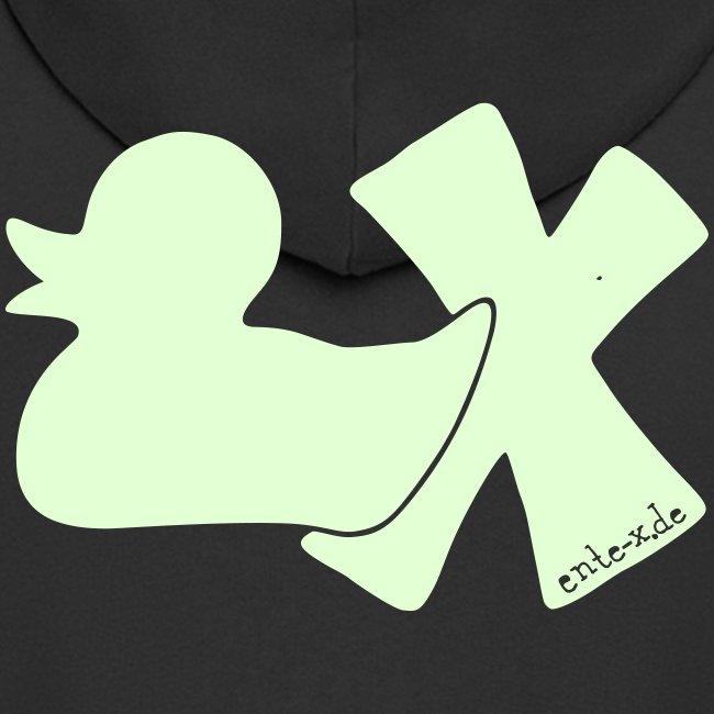 Hoodie Ente mit X, phosphoriszierend!, hinten