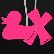 Motiv ~ Hoodie Ente mit X, neonpink, vorne