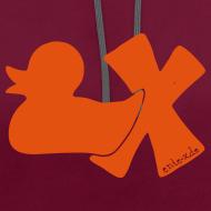 Motiv ~ Hoodie Ente mit X, orange samtig!, vorne