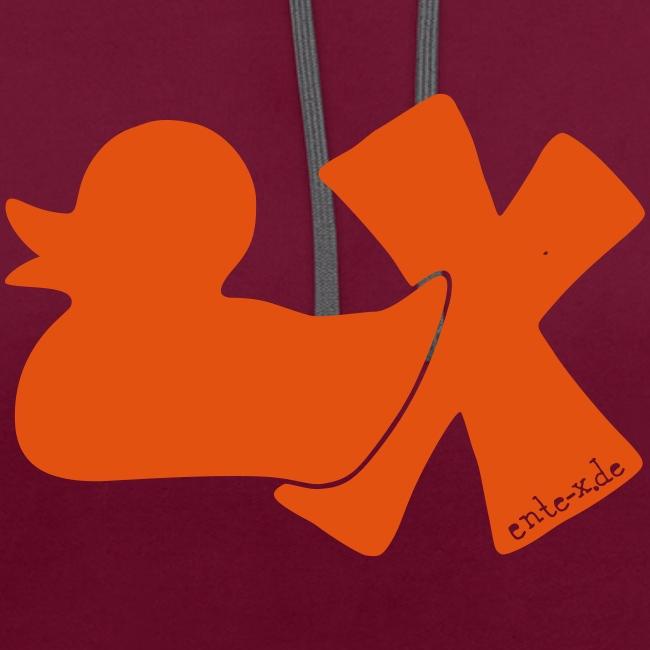 Hoodie Ente mit X, orange samtig!, vorne