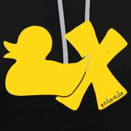 Motiv ~ Hoodie Ente mit X, gelb samtig!, vorne
