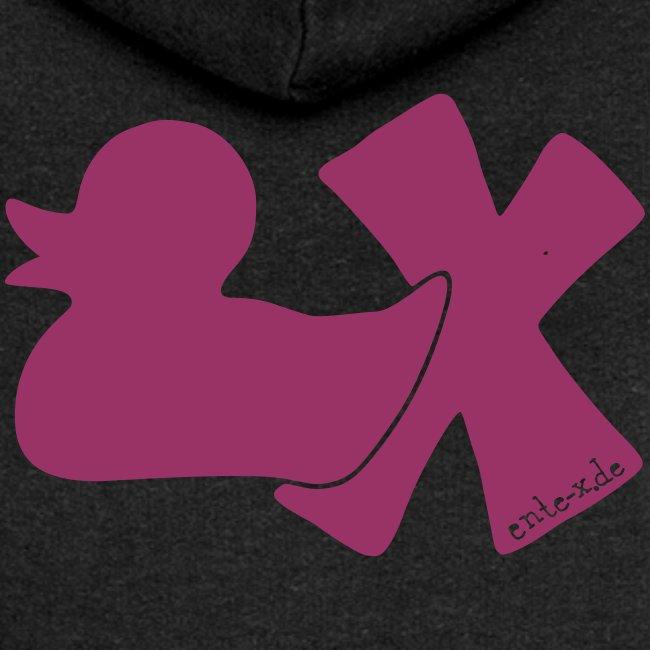 Hoodie Ente mit X, rot glitzer!, hinten