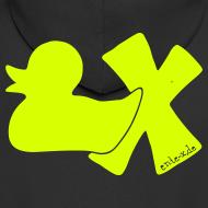 Motiv ~ Hoodie Ente mit X, neongelb, hinten