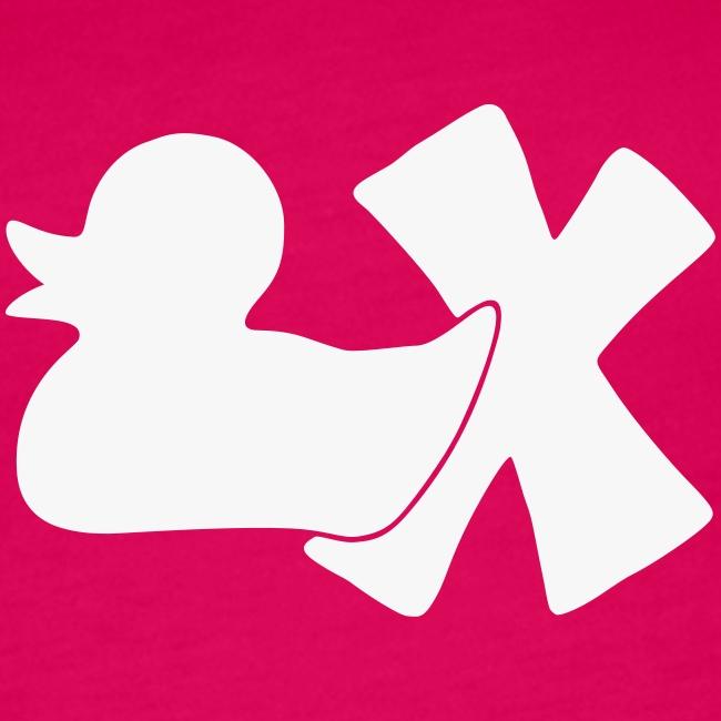 TankTop Ente mit X, weiß glitzer!, vorne