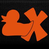Motiv ~ Mütze mit Ente mit X, orange samtig!
