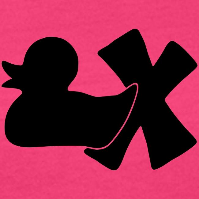 Ökotshirt mit Ente mit X, schwarz, vorne