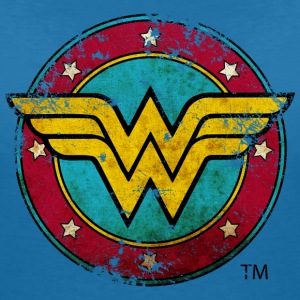 Wonder Woman Logo Distressed Dame T-Shirt - T-skjorte med V-utsnitt for kvinner