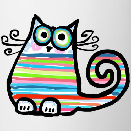 Bunt gestreifte, lustige Katze - handgezeichnet