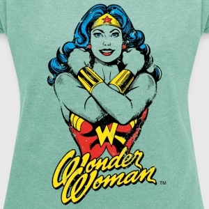 Wonder Woman Power Dame T-Shirt - T-skjorte med rulleermer for kvinner