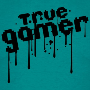 pixel true gamer 8 bit retro old font text blood d T-Shirts - Men's T-Shirt