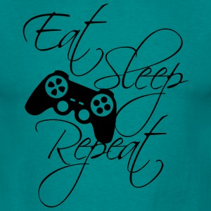 eat sleep game repeat controller text  T-Shirts - Männer T-Shirt