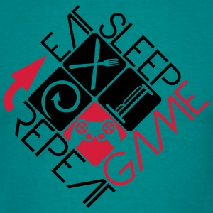 eat sleep game repeat controller logo  T-Shirts - Männer T-Shirt