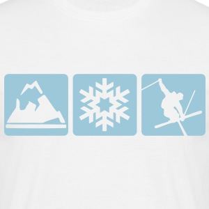 MOUNTAIN, SNOWFLAKE, SKIER - 3 BOXES - Men's T-Shirt