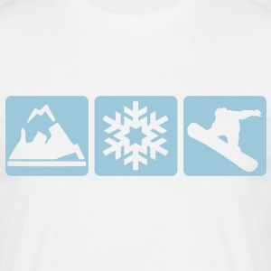MOUNTAIN, SNOWFLAKE, SNOWBOARDER -  - Men's T-Shirt