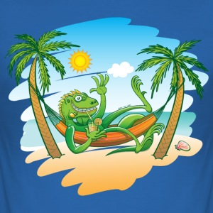 Lazy Iguana Summer on the Beach T-Shirts - Men's Slim Fit T-Shirt