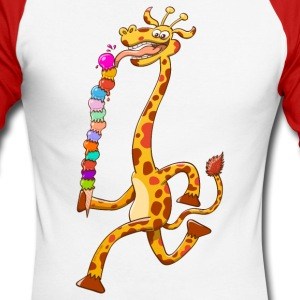 Cool Giraffe Eating Ice Cream Long sleeve shirts - Men's Long Sleeve Baseball T-Shirt