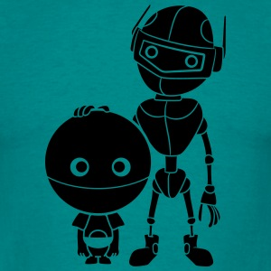 mama papa robot child small large friends team swe T-Shirts - Men's T-Shirt