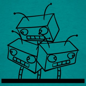 3 robot friends behind wall team heads funny T-Shirts - Men's T-Shirt
