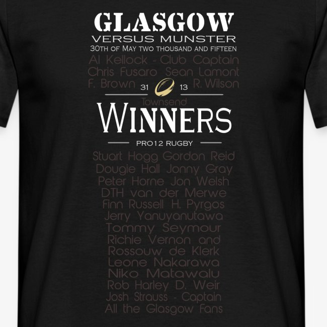 Glasgow PRO12 Winners Glass