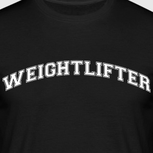 weightlifter college style curved logo - Men's T-Shirt