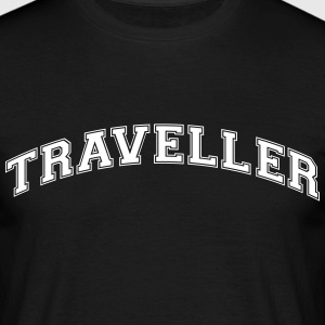 traveller college style curved logo - Men's T-Shirt