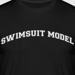 swimsuit model college style curved logo - Men's T-Shirt